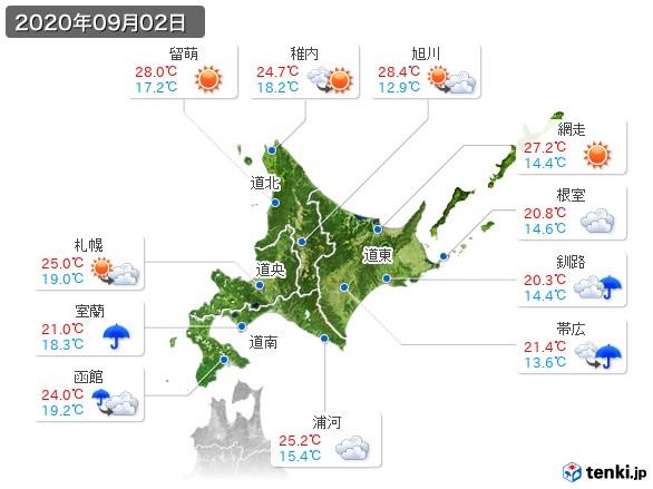 北海道地方(2020年09月02日の天気