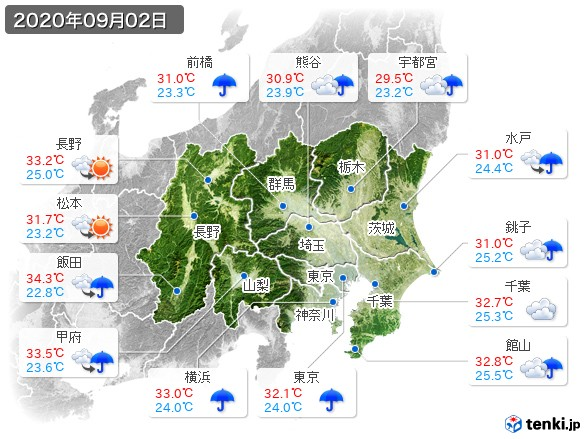 関東・甲信地方(2020年09月02日の天気