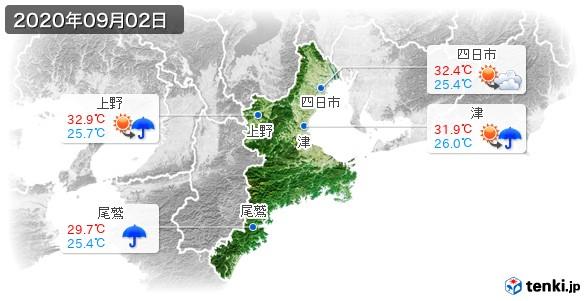 三重県(2020年09月02日の天気