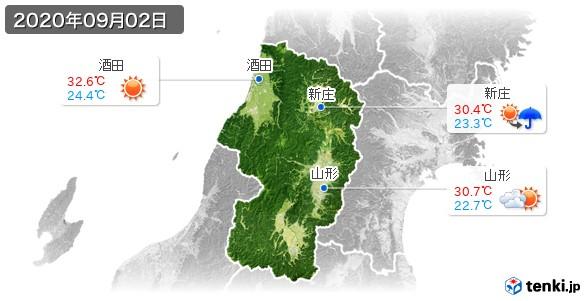 山形県(2020年09月02日の天気