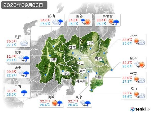 関東・甲信地方(2020年09月03日の天気