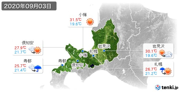 道央(2020年09月03日の天気
