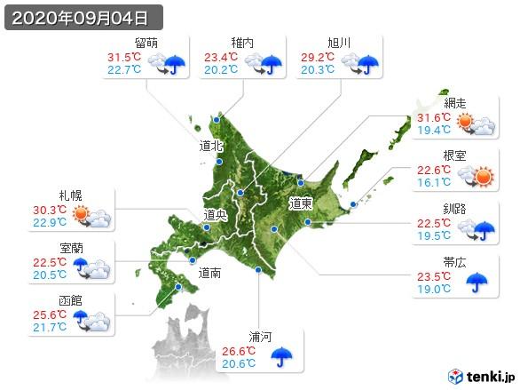 北海道地方(2020年09月04日の天気