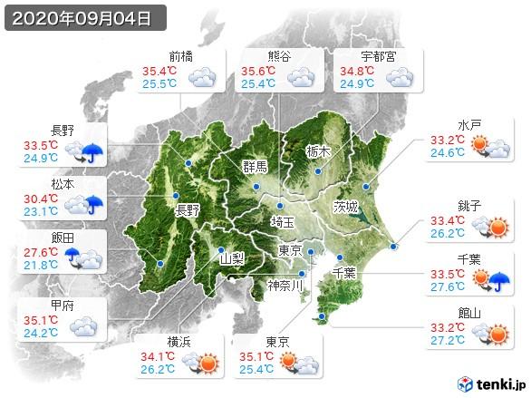 関東・甲信地方(2020年09月04日の天気
