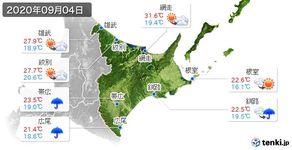 道東(2020年09月04日の天気