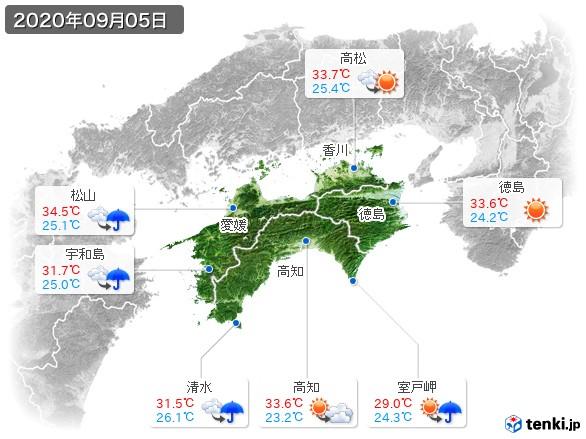 四国地方(2020年09月05日の天気