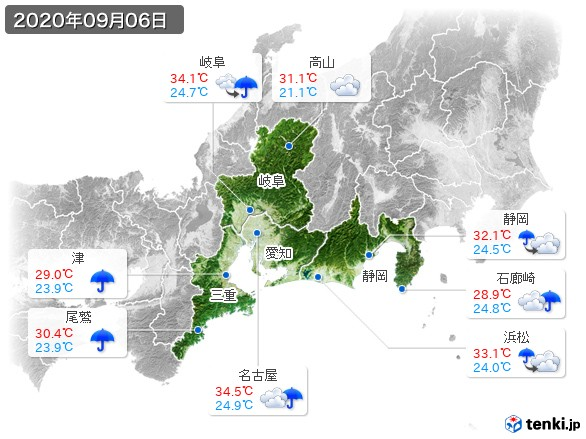 東海地方(2020年09月06日の天気