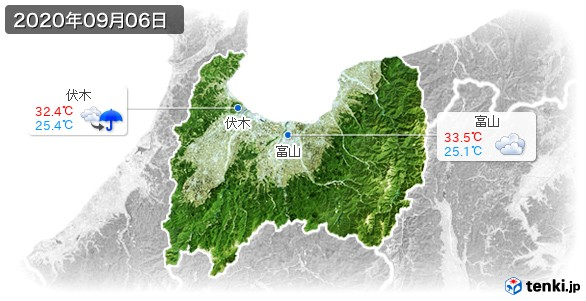 富山県(2020年09月06日の天気