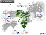 2020年09月07日の近畿地方の実況天気