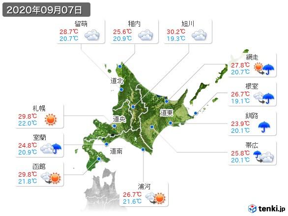 北海道地方(2020年09月07日の天気