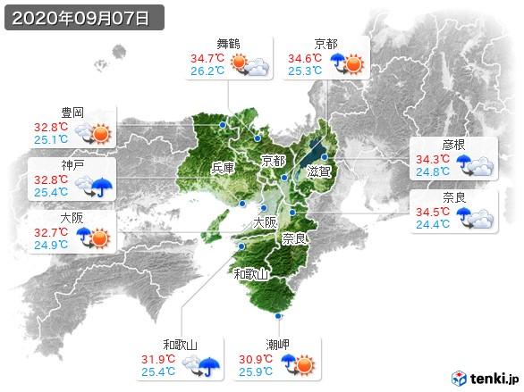 近畿地方(2020年09月07日の天気