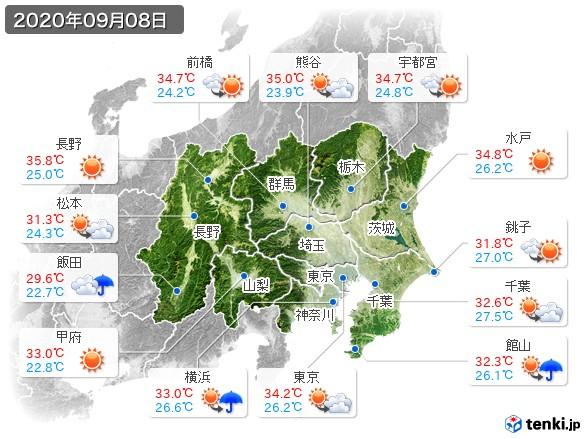 関東・甲信地方(2020年09月08日の天気