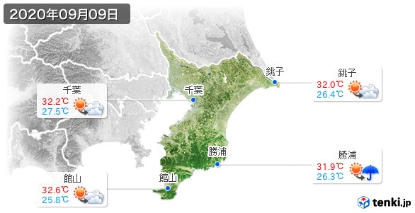 千葉県(2020年09月09日の天気