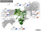 2020年09月11日の近畿地方の実況天気