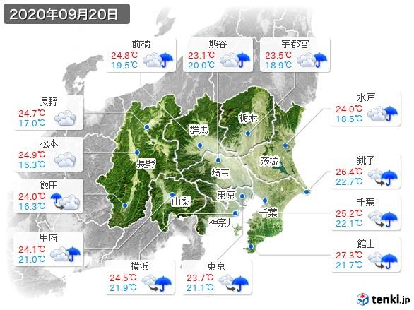 関東・甲信地方(2020年09月20日の天気