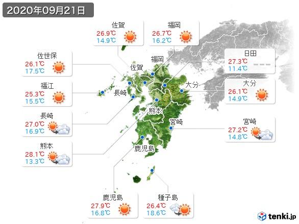 九州地方(2020年09月21日の天気