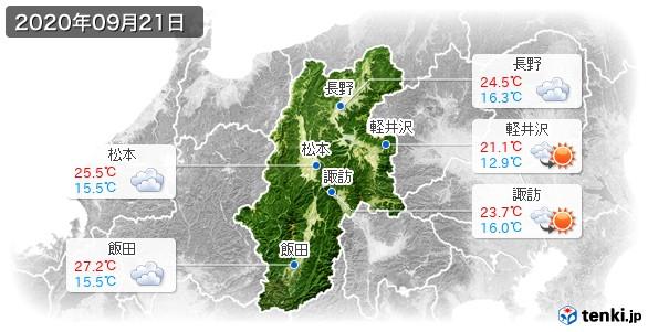 長野県(2020年09月21日の天気