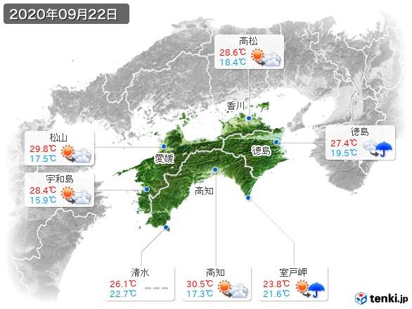 四国地方(2020年09月22日の天気