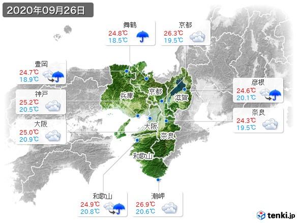 近畿地方(2020年09月26日の天気