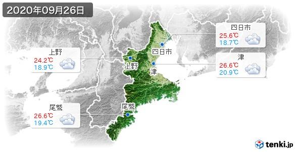 三重県(2020年09月26日の天気