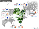 2020年09月27日の近畿地方の実況天気