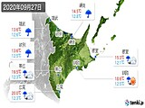 2020年09月27日の道東の実況天気