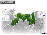 2020年09月27日の鳥取県の実況天気