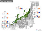 2020年09月28日の北陸地方の実況天気