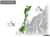 2020年09月28日の石川県の実況天気