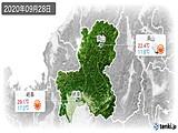 2020年09月28日の岐阜県の実況天気