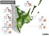 2020年09月28日の道東の実況天気