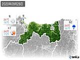 2020年09月28日の鳥取県の実況天気