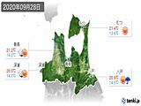 2020年09月28日の青森県の実況天気