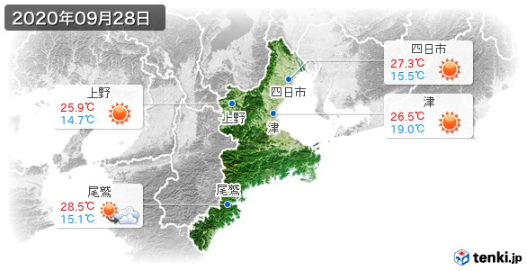 三重県(2020年09月28日の天気