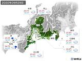 2020年09月29日の東海地方の実況天気