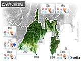 2020年09月30日の静岡県の実況天気