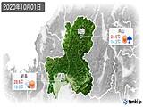 2020年10月01日の岐阜県の実況天気