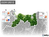 2020年10月01日の鳥取県の実況天気
