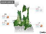 2020年10月01日の青森県の実況天気