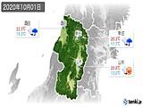 2020年10月01日の山形県の実況天気