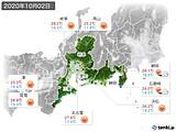 2020年10月02日の東海地方の実況天気