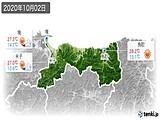 2020年10月02日の鳥取県の実況天気