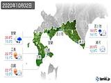 2020年10月02日の道南の実況天気