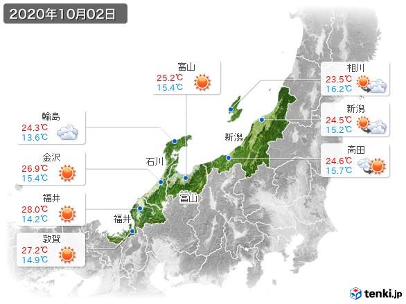 北陸地方(2020年10月02日の天気