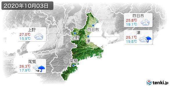 三重県(2020年10月03日の天気