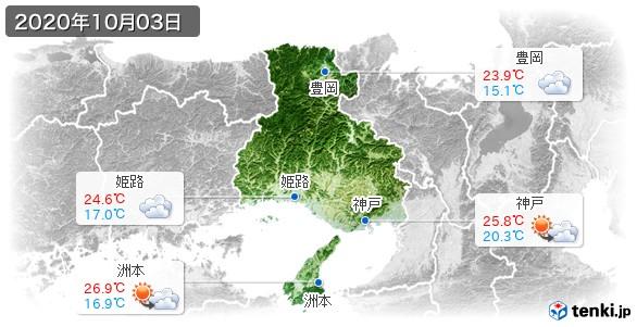 兵庫県(2020年10月03日の天気