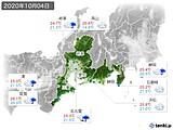 2020年10月04日の東海地方の実況天気