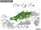 2020年10月04日の中国地方の実況天気
