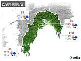 2020年10月07日の高知県の実況天気