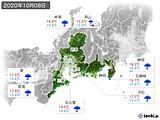2020年10月08日の東海地方の実況天気